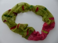 "* Loopschal ""frühlingsgrün und erdbeerrot"""