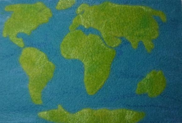 * Weltkarte als Bild zum Aufhängen